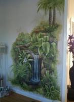tropical palm mural waterfall home mural acrylic painting north carolina artist