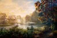 Foggy Sunrise is an oil painting by North Carolina artist Tonia Gebhart The Barefoot Artist. It's of the pond that's on Keith Hills Golf Course, Buies Creek