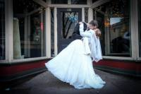 bride groom wedding love dipping downtown Raleigh winter wedding