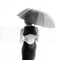 prom rain rainey days umbrella black dress