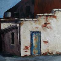 The Blue Back Door is a palette knife oil painting by North Carolina artist Tonia Gebhart The Barefoot Artist