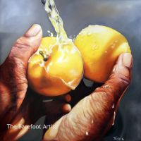 Two Opal Apples is an oil painting by North Carolina Artist Tonia Gebhart The Barefoot Artist