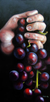 Grapes in the Hand is an oil painting by North Carolina Artist Tonia Gebhart, The Barefoot Artist