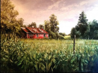 The Old Red Bunk House is a palette knife oil painting by North Carolina artist Tonia Gebhart, The Barefoot Artist
