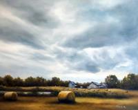 The Farm Along hwy 42 in Johnston County is an oil painting by North Carolina artist Tonia Gebhart, The Barefoot Artist