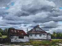 The Cold Front is an oil painting by North Carolina artist Tonia Gebhart, The Barefoot Artist. It's of old buildings and dark storm clouds.