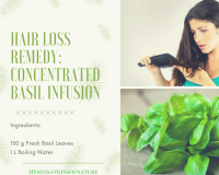 Basil leaves and woman brushing her hair looking at how much hair she's lost on the  brush