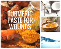 Turmeric root and powder, coconut split open, honey in a bowl and water