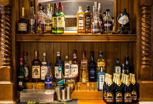 McMahons Bar Maynooth behind the bar spirits and optics