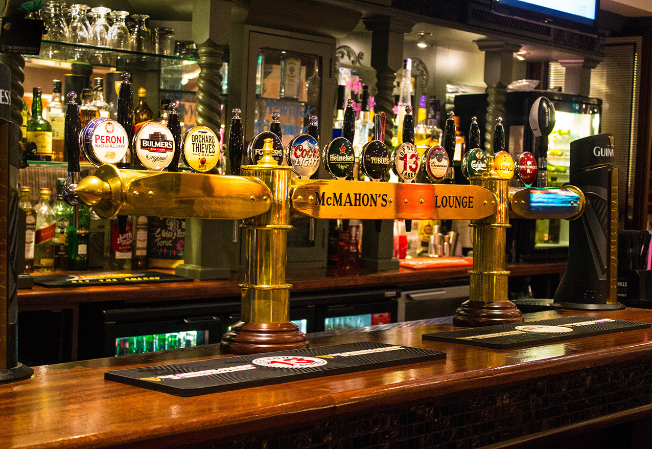 McMahons Bar Maynooth beer pumps