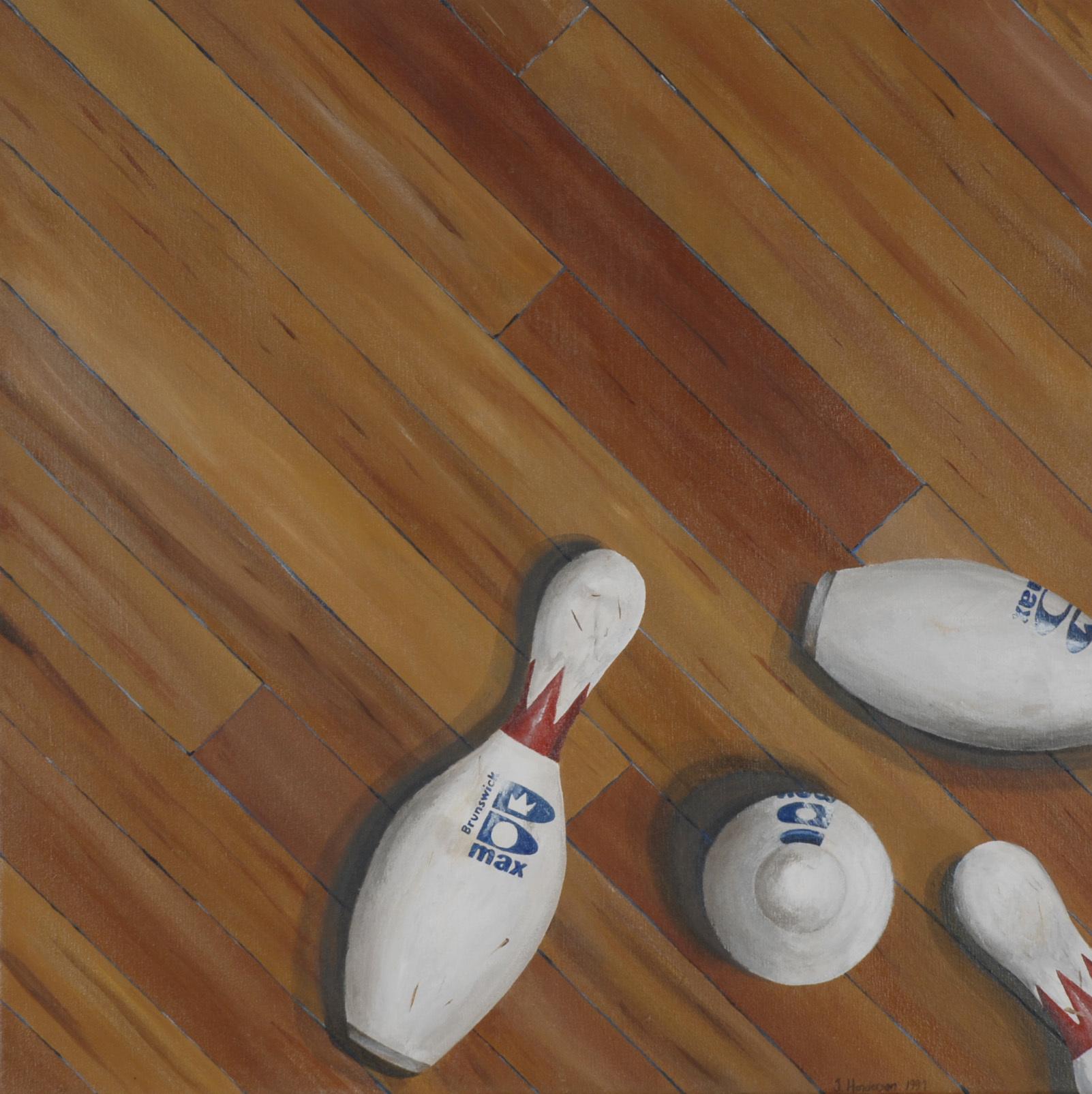 realism, bowling pins, painting, acrylic realism, photorealism, bowling
