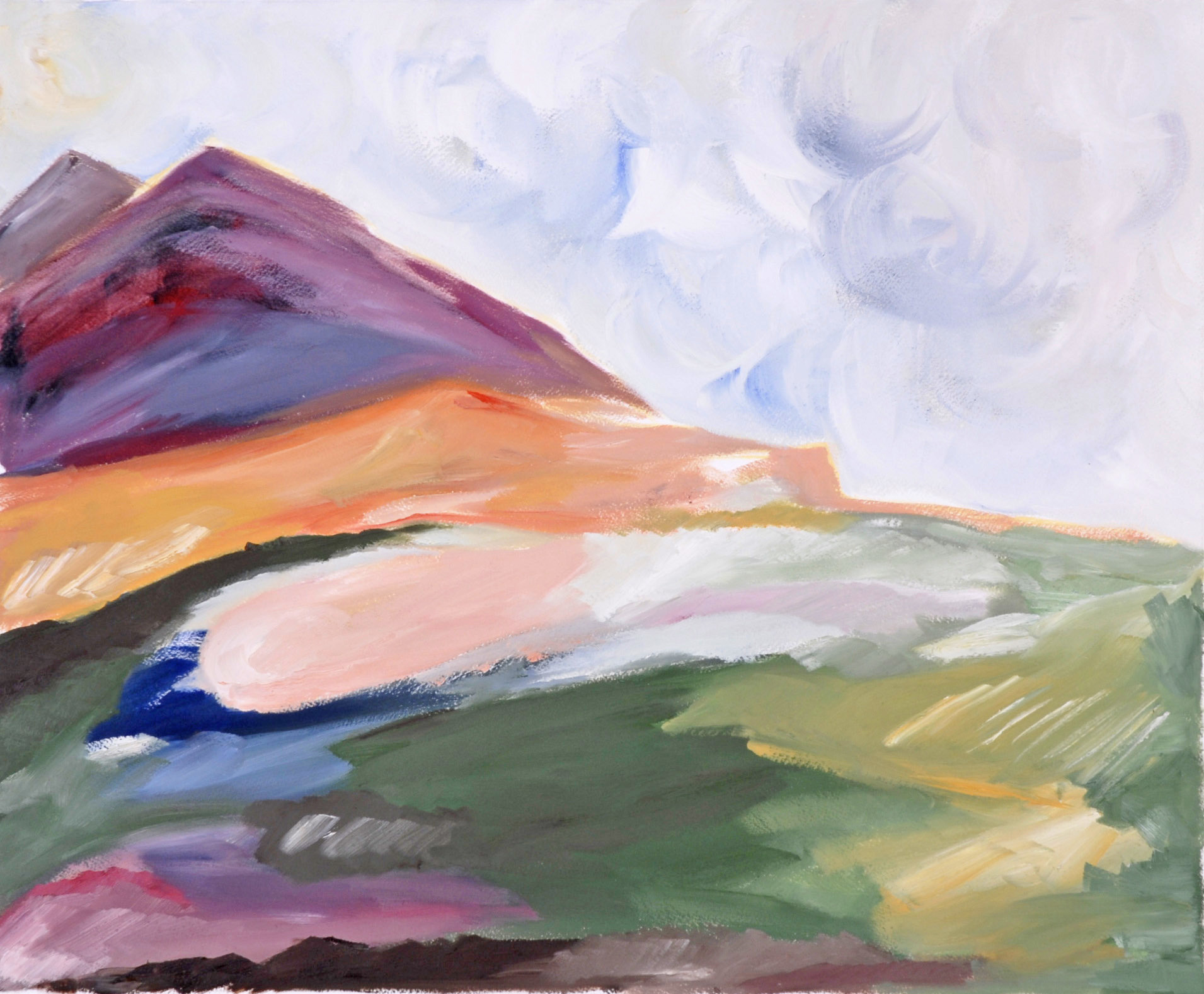 landscape painting, oil, bold color, mountains, colorful, abstract