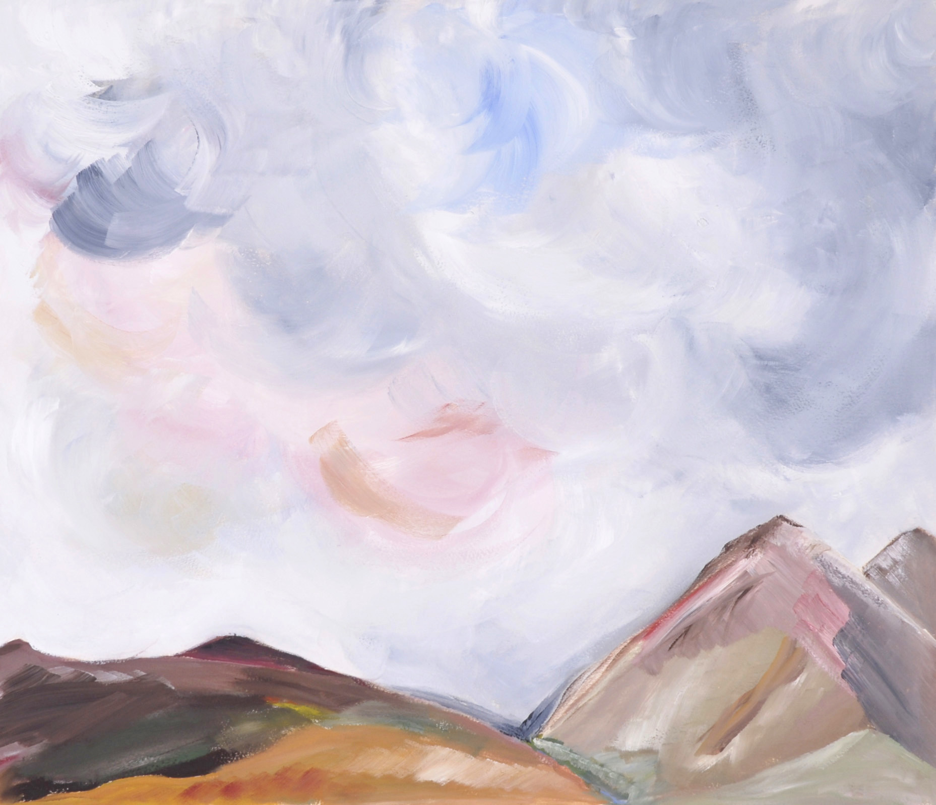 landscape painting, colorful, mountains, sky, oil