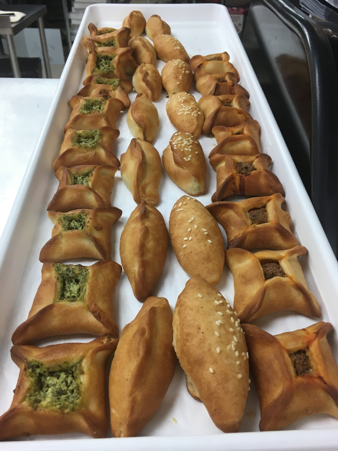 Broccoli and cheese, zaatar and meat pies