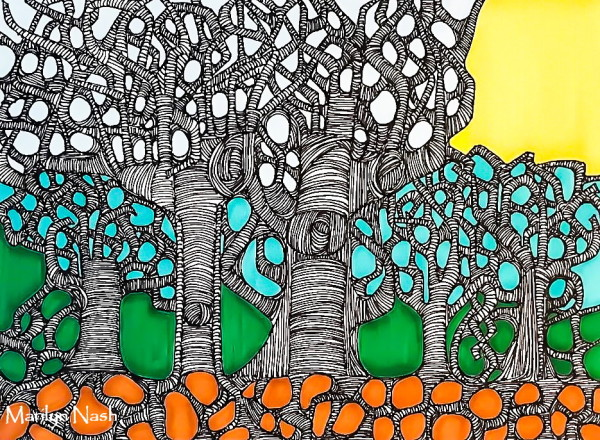 Marilyn Nash original drawing trees titled Branch Management