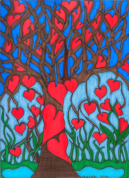 Marilyn Nash original drawing tree with hearts titled Mary's Tree