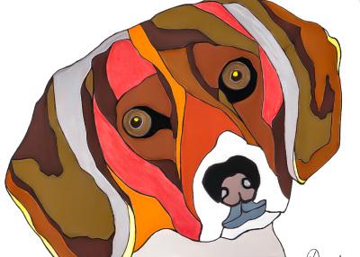 Marilyn Nash drawing Bailey the Beagle Dog