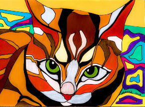 Marilyn Nash Drawing Colorful Cat