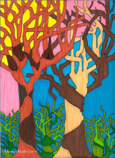 Marilyn Nash original drawing print titled Together Trees