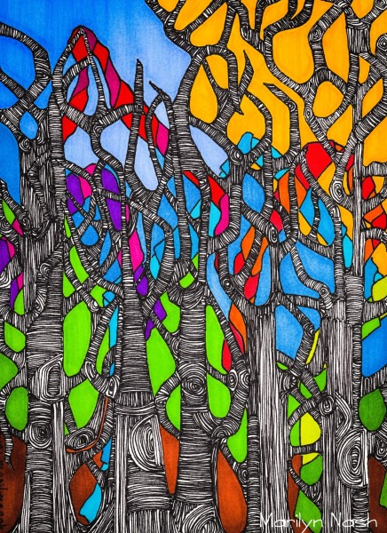 Marilyn Nash original drawing  trees  in bright sun and sky titled Tree Party