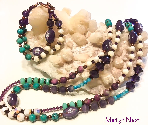One-of-a-kind necklace and matching bracelet by Marilyn Nash Designs