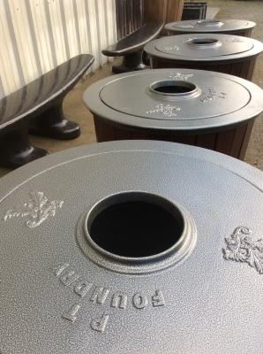 Trash Receptacle—lid detail