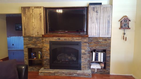 gas fireplace, stonework, custom mantle,