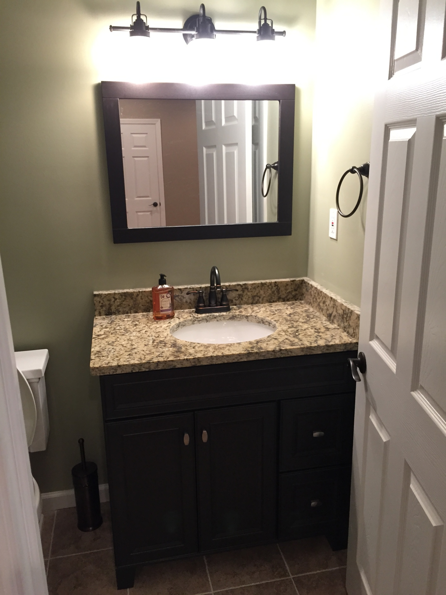Basement bathroom vanity.