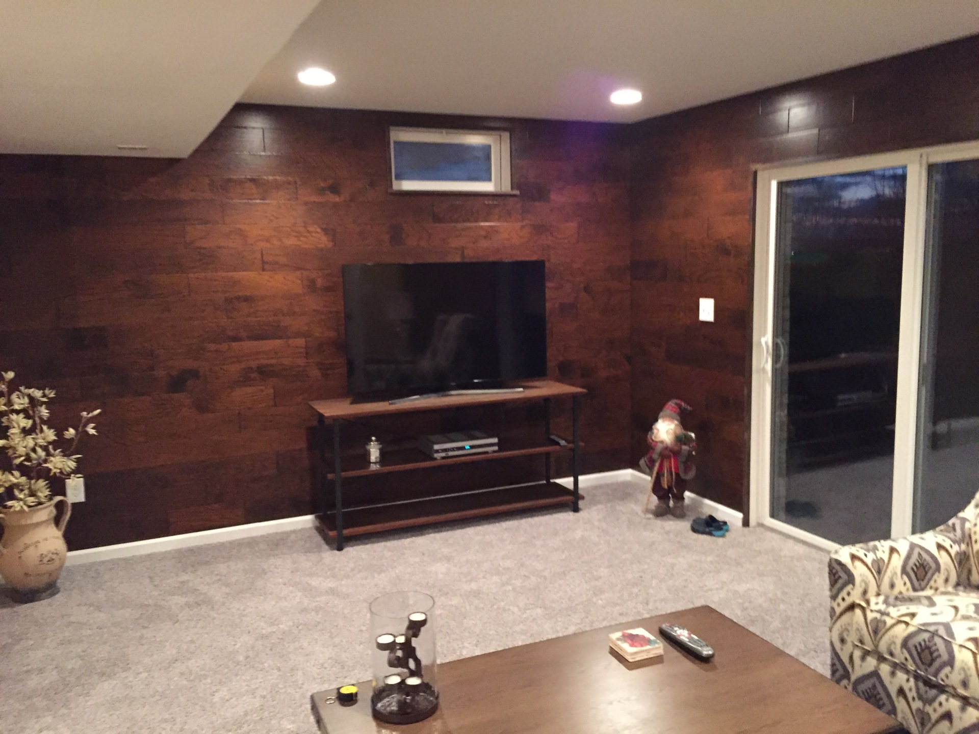 Wood wall gameroom.
