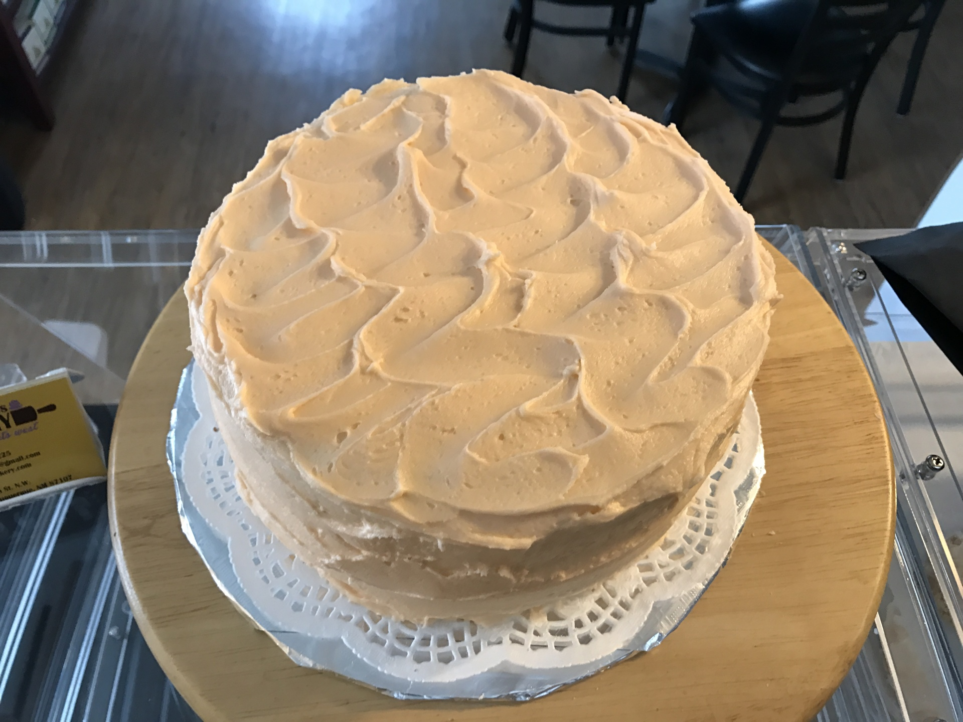 Amaretto cake with orange buttercream