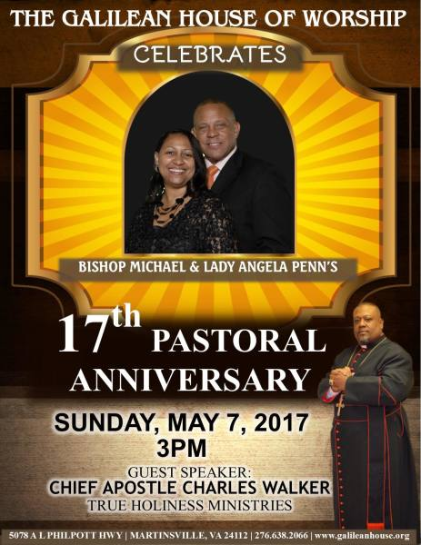 Galilean House of Worship 17th Pastoral Anniversary