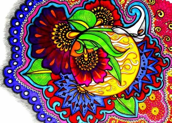 Rainbow Henna Floral