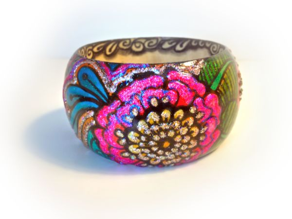 Pink Henna Peony Hand Painted Bangle