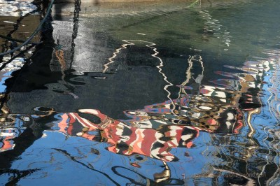 Sunlight reflecting off the water creates beautiful, swirling patterns