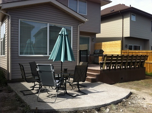 Composite deck and concrete pad