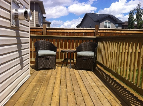 Pressure treated deck with sitting area