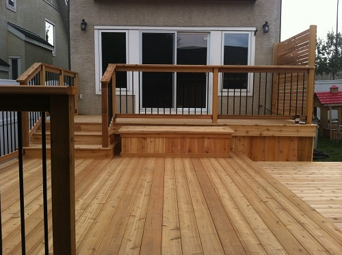 Cedar deck and Storage bench