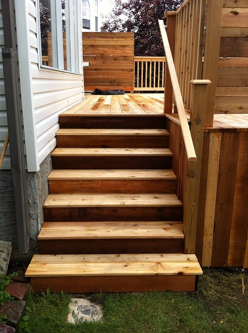 Cedar Staircase - Calgary deck builders