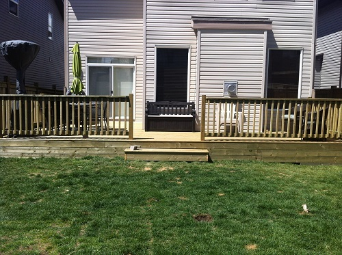 Pressure treated deck and railing