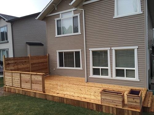 Cedar Calgary deck and planters