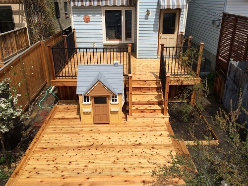 Two Tier Cedar Calgary Deck