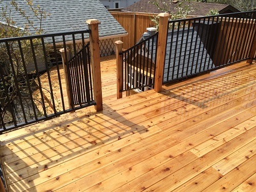 Cedar deck and black rail