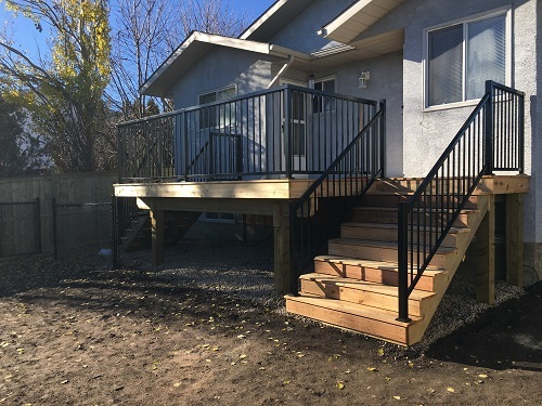 Small wooden deck and stairs