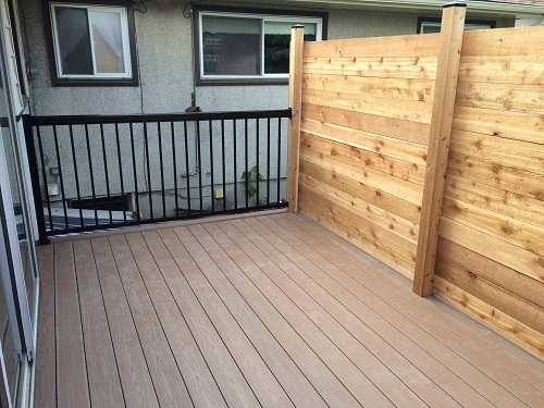 Composite decking with black railing