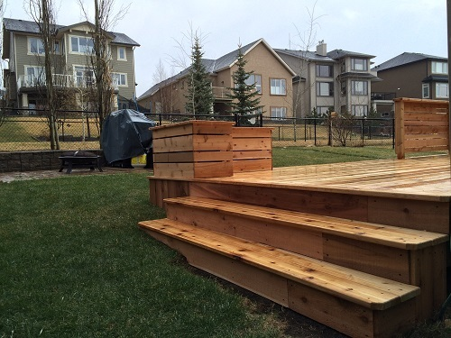Calgary Cedar deck and planter