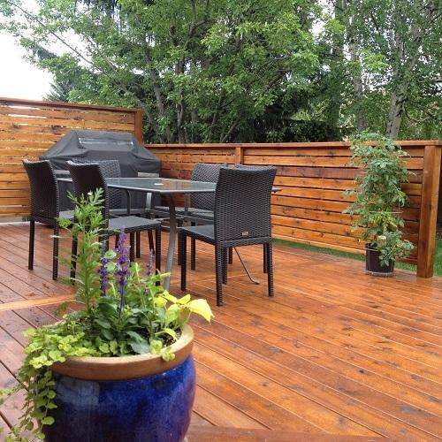 Cedar deck and deck furniture