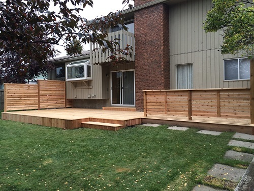 Ground Level Cedar Deck and Rail