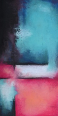 CORAL AND TEAL ABSTRACT 1