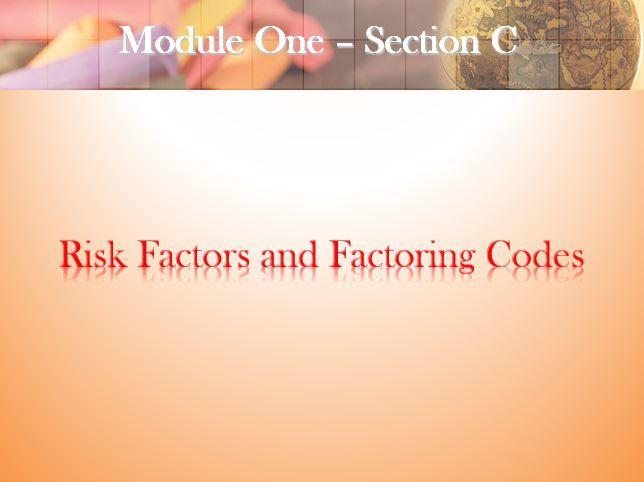 Risk Factors & Factoring Codes