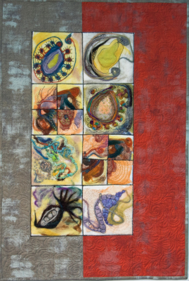 Felted wool quilt. Mixed medium quilt